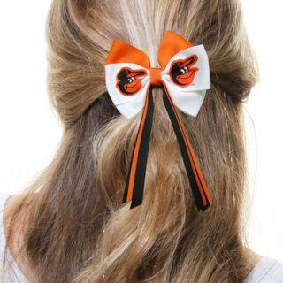 Baltimore Orioles Ladies Mini Streamer Hair Bow   White/Orange/Black