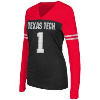 Texas Tech Red Raiders Colosseum Womens Packed Powder Long Sleeve V Neck T Shirt   Red/Black
