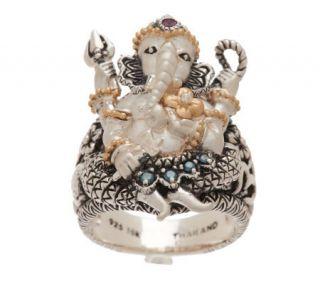 Barbara Bixby Sterling/18K Blue Diamond & Gemstone Ganesh Ring —