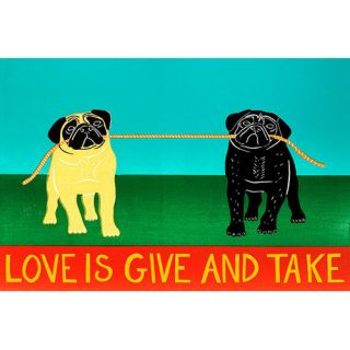 iCanvas Love is Give and Take by Stephen Huneck Graphic Art on Canvas in Blue and Green