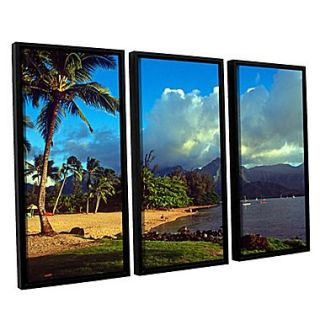 ArtWall Golden Light on Hanalei by Kathy Yates 3 Piece Framed Photographic Print Set