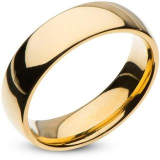 Steel Art Men's Stainless Steel 6mm Plain Gold Wedding Band with High Polish Finish
