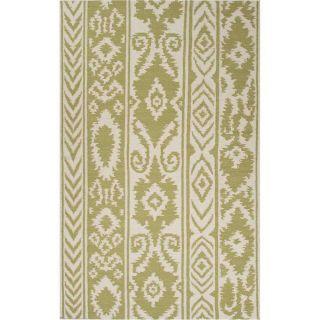 Jaipur RUG1 Urban Bungalow Flat Weave Tribal Pattern Wool Green Ivory Area Rug