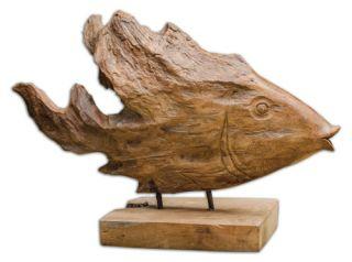 Uttermost Teak Fish Sculpture   Sculptures & Figurines