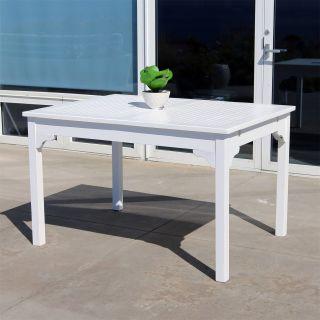 Vifah V1632 Bradley Outdoor Rectangular Garden Table in White