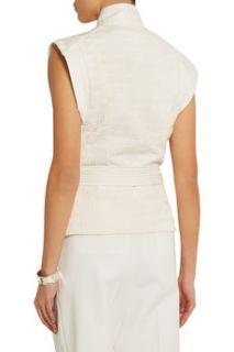 Cast belted textured cotton blend vest