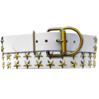 Platinum Pets 29 in. White Genuine Leather Dog Collar in Gold Stars WLC29INGLDSTR