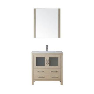 Virtu USA Dior 32 in. Vanity in Light Oak with Ceramic Vanity Top in White and Mirror DISCONTINUED KS 70032 C LO