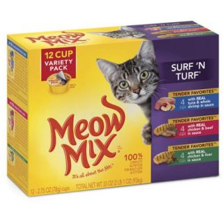 Meow Mix Tender Favorites Surf 'N Turf Wet Cat Food Variety Pack, 2.75 Ounce Cups (Pack of 12)