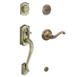 Schlage Camelot In Active Antique Brass Handleset with Left Hand Flair Lever F93 CAM 609 FLA LH