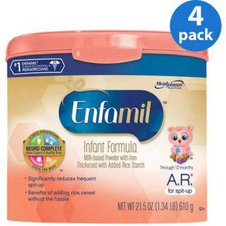 Enfamil A.R. baby formula – 21.5 oz Powder in Reusable Tub, Pack of 4