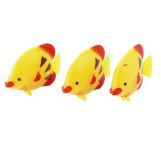 3Pcs Yellow Fish Tank Aquarium Artificial Plastic Tropical Fish Ornament