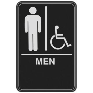 The Hillman Group 6 in x 9 in Men Handicap Accessible Restroom Sign