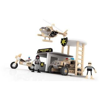 Wood Police Station with Accessories, 133 Piece