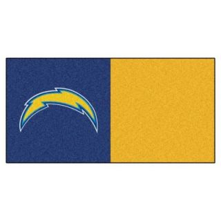 FANMATS NFL   San Diego Chargers Navy Blue and Gold Nylon 18 in. x 18 in. Carpet Tile (20 Tiles/Case) 8569   Mobile