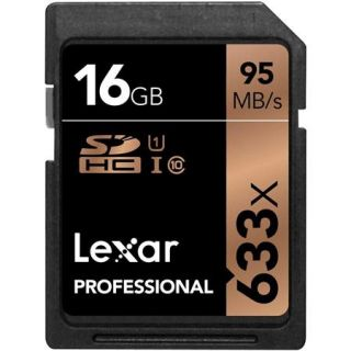 LSD16GCBNL633 Lexar Lexar 16GB Professional 633x Class 10 UHS I U1 SDHC Memory Card for Cameras, 95MB/s Read Speed, 20MB/s Write Speed