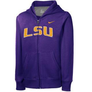 Nike LSU Tigers Youth Girls School Name Full Zip Hooded Sweatshirt   Purple