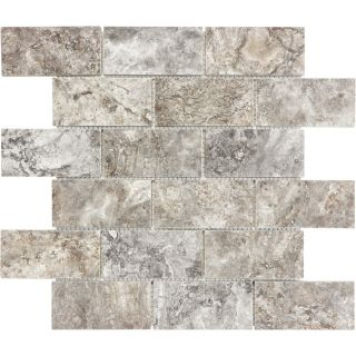 Anatolia Tile Silver Ash Brick Mosaic Travertine Wall Tile (Common: 12 in x 12 in; Actual: 12.057 in x 12.008 in)