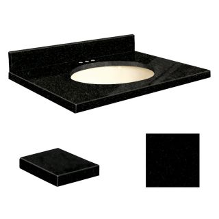 Transolid Absolute Black Granite Undermount Single Sink Bathroom Vanity Top (Common: 25 in x 22 in; Actual: 25 in x 22.25 in)