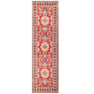 Herat Oriental Afghan Hand knotted Kazak Red/ Ivory Wool Runner (29 x