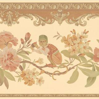 Light Brown Monkey Floral Border Wallpaper