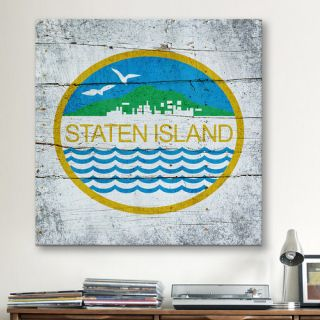 Flags Staten Island Wood Planks with Grunge Graphic Art on Canvas
