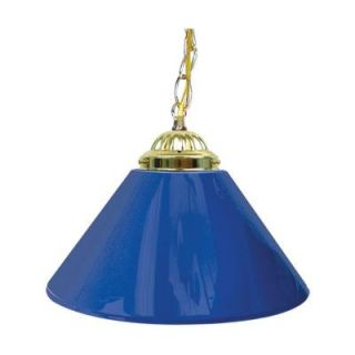 Trademark 14 in. Single Shade Blue and Brass Hanging Lamp 1200G BLU