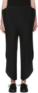 Issey Miyake: Black Pleated Solid Earth Lounge Pants