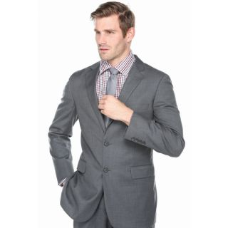 Verno Mens Light Charcoal Grey 100 percent Wool Micro Plaid Double