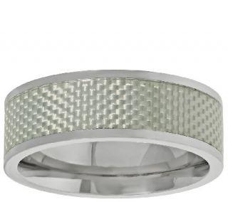 Mens Titanium Band Ring w/Silver Carbon Fiber —
