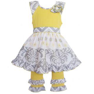 AnnLoren Boutique Girls Grey Damask/ Dots 2 piece Dress Set