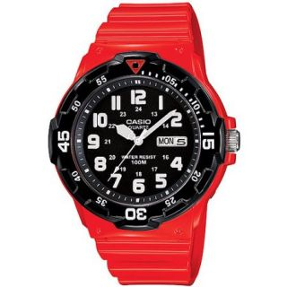 Casio Unisex Dive Style Watch with Orange Glossy Strap