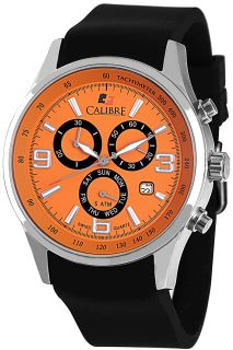 Calibre Mauler Orange Dial Chronograph Black Rubber Mens Watch SC 4M1