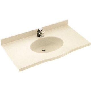 Europa 43 in. W x 22 1/2 in. D x 11 38 in. H Solid Surface Vanity Top in Pebble with Pebble Basin EV1B2243 072