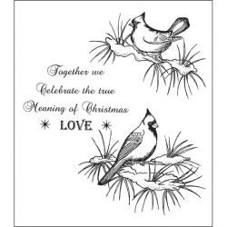 Heartfelt Creations Snowy Cardinal Cling Rubber Stamp Set