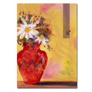 Trademark Fine Art 24 in. x 32 in. Red Vase with Daisy Canvas Art SG009 C2432GG