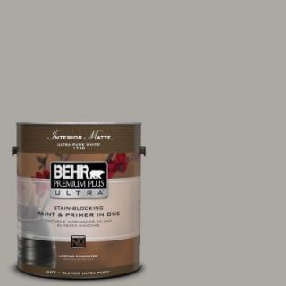 BEHR Premium Plus Ultra 1 gal. #N360 3 Still Gray Matte Interior Paint 175401