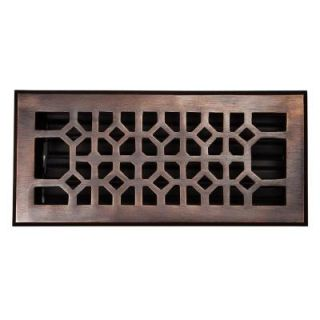 The Copper Factory 4 in. x 10 in. Copper Floor Register in Antique Copper with Adjustable Damper CF140AN