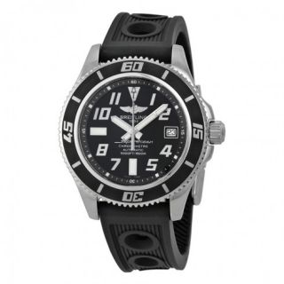 Breitling SuperOcean 42 Black Dial Black Rubber Mens Watch A1736402