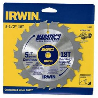 Irwin 5 1/2 Inch 18TPI Framing/Ripping Carbide Circular Saw Blade: Model# 14027