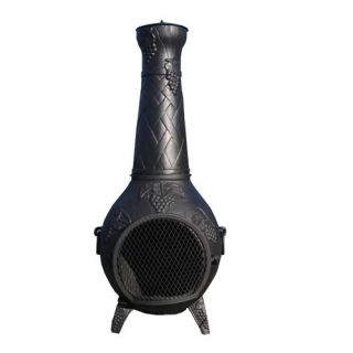Blue Rooster CH001 Grape Leaf Cast Aluminum Chiminea