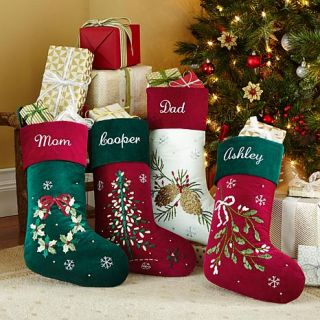 Personal Creations Personalized Velvet Ribbon Stocking   Pinecone   7928014