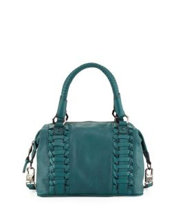Romy Gold Pebble Leather Woven Satchel, Emerald