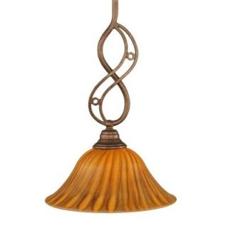 Filament Design 1 Light Bronze Pendant with Seashell Glass CLI TL5003386