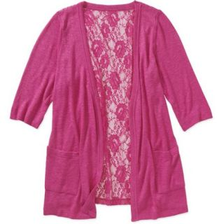 Concepts Womens Plus Size Lightweight Cardigan with Lace Back
